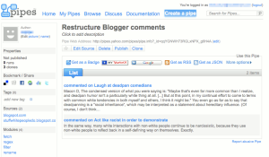 Pipes output for filtering Blogger comment feeds.