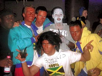 Photo of U of T students in blackface ''Cool Runnings'' Halloween costumes