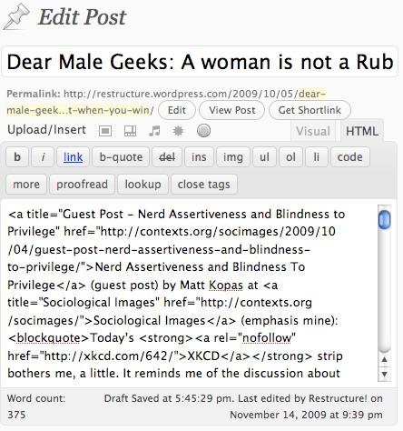 Screenshot of HTML composition mode in WordPress post editor