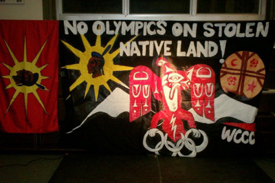 Photo of No Olympics on stolen native land! banner
