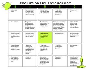 Evolutionary Psychology Bingo Card