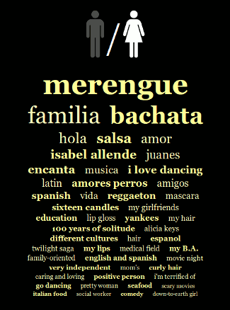 merengue, familia, bachata, hola, salsa, amor, isabel allende, juanes, encanta, musica, i love dancing, latin, amores perros, amigos, spanish, vida, reggaeto, nmascara, sixteen candles, my girlfriends, education, lip gloss, yankees, my hair, 100 years of solitude, alicia keys, different cultures, hair, espanol, twilight saga, my lips, medical field, my B.A., family-oriented, english and spanish, movie night, very independent, mom's, curly hair, caring and loving, positive person, i'm terrified of, go dancing, pretty woman, seafood, scary movies, italian food, social worker, comedy, down-to-earth girl