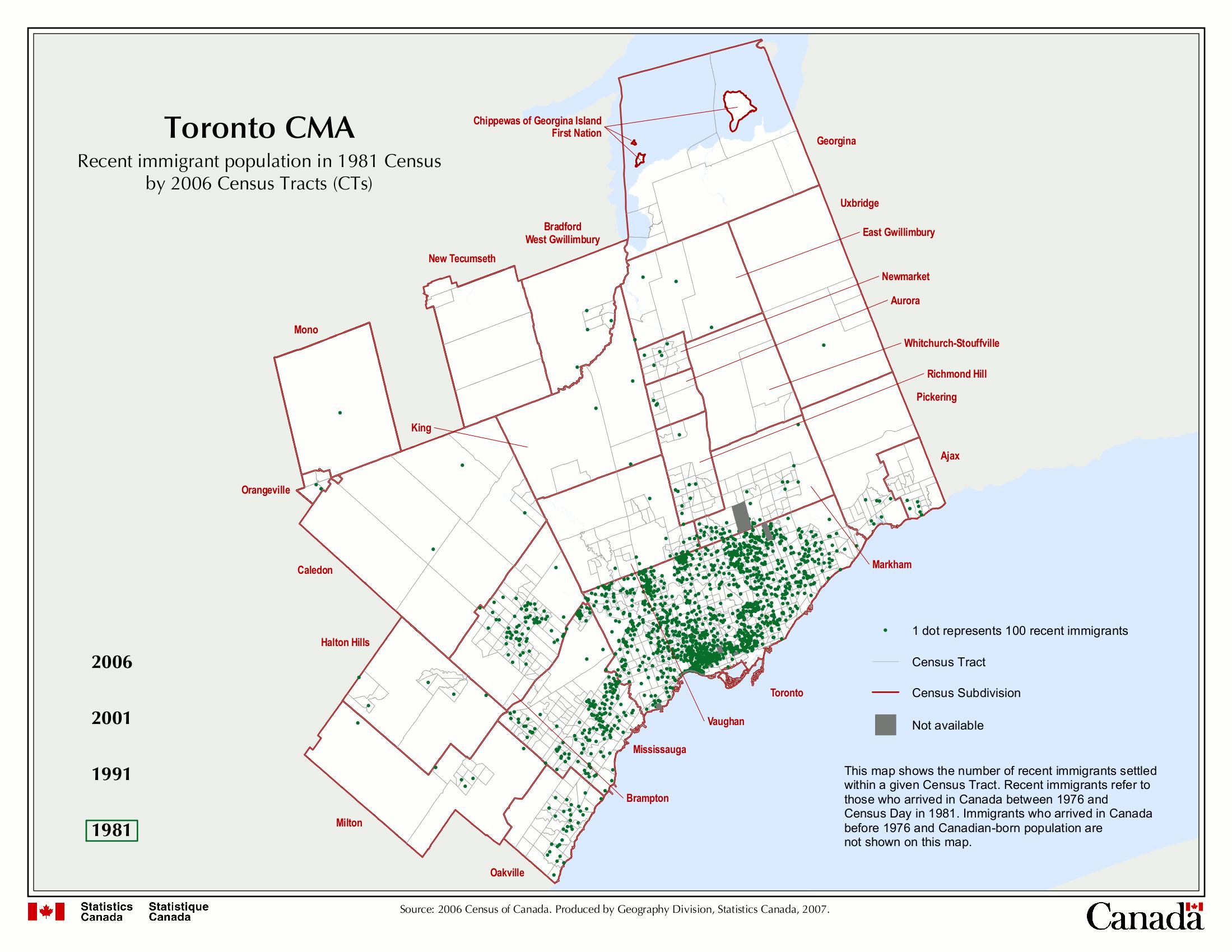 Map Of Recent Immigrants In Toronto 1981 Versus 2006 Restructure