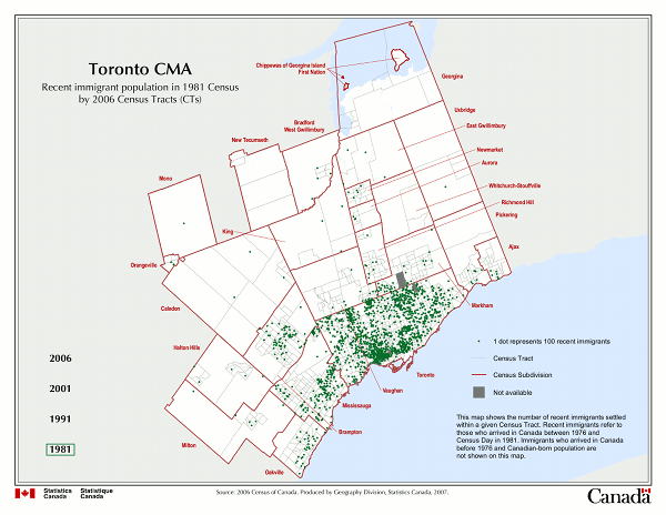 Toronto CMA. Recent immigration population in 1981 Census by 2006 Census Tracts (CTs).
