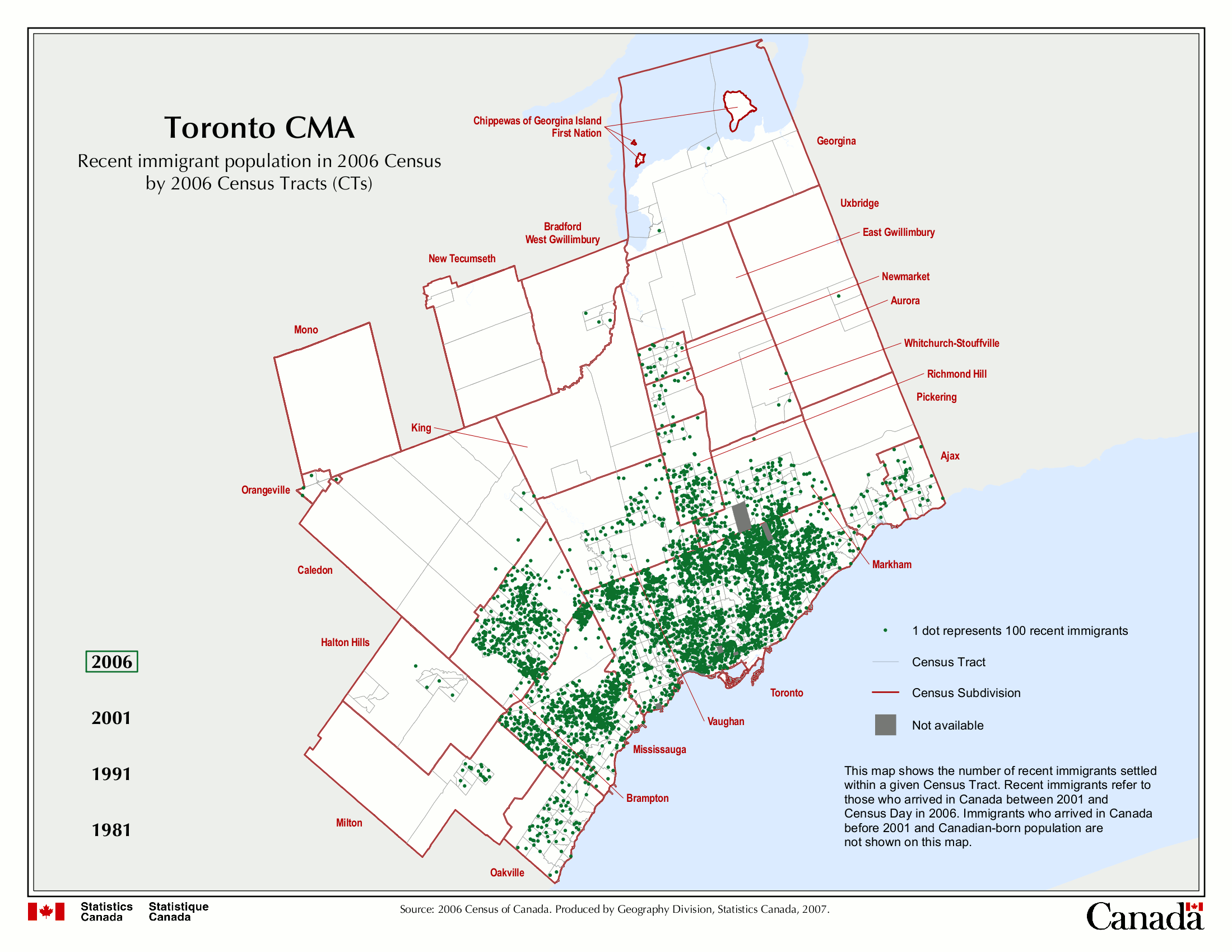 population change in the toronto census