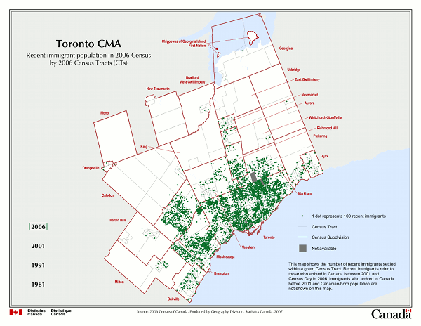 Toronto CMA. Recent immigration population in 2006 Census by 2006 Census Tracts (CTs).