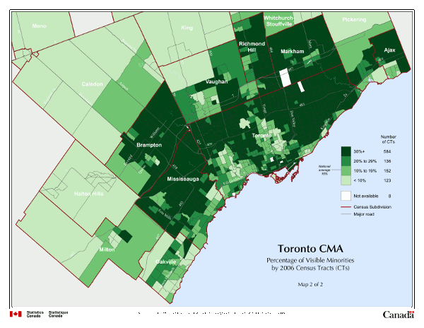 Toronto CMA. Percentage of Visible Minorities by 2006 Census Tracts (CTs). Map 2 of 2.